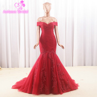 2018 Sexy Lace Applique Mermaid Prom Dresses Long Design Evening Dress Burgundy Amazing Party Gown Beading Evening Gowns