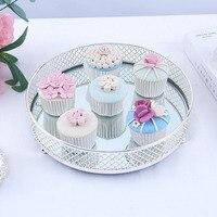 Nordic Creative Household Cake Tray Dessert Pastry Storage Tray Metal Tray Cosmetics Jewelry Storage Wedding Decoration