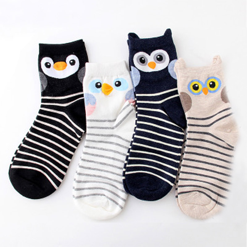COCOTEKK New Cute Cartoon Animal Cotton Women   Socks   Penguin Owl Fun   Socks   Women Fashion Lovely Funny Female Lady 3D Ear   Socks