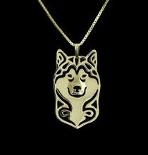 Gold & silver 1pcs Handmade Boho Chic hippie Alaskan Malamute necklace fashion Alaskan Malamute dog jewelry Silver gold color