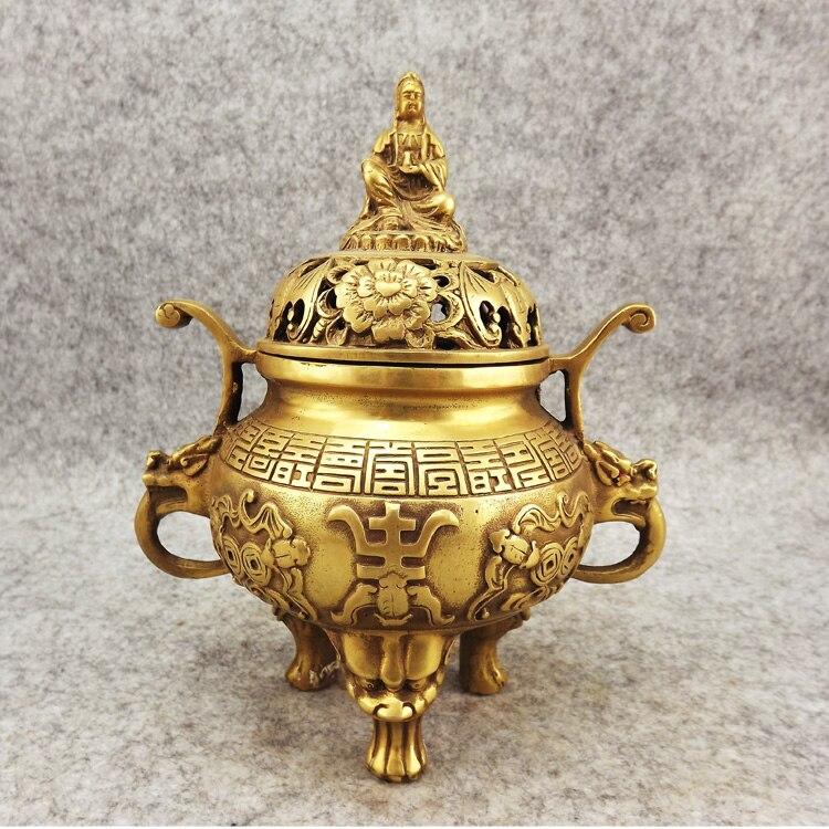 Permalink to Incense burner copper incense burner buddha with three-legged antique incense burner daming xuande crafts copper Bronze art