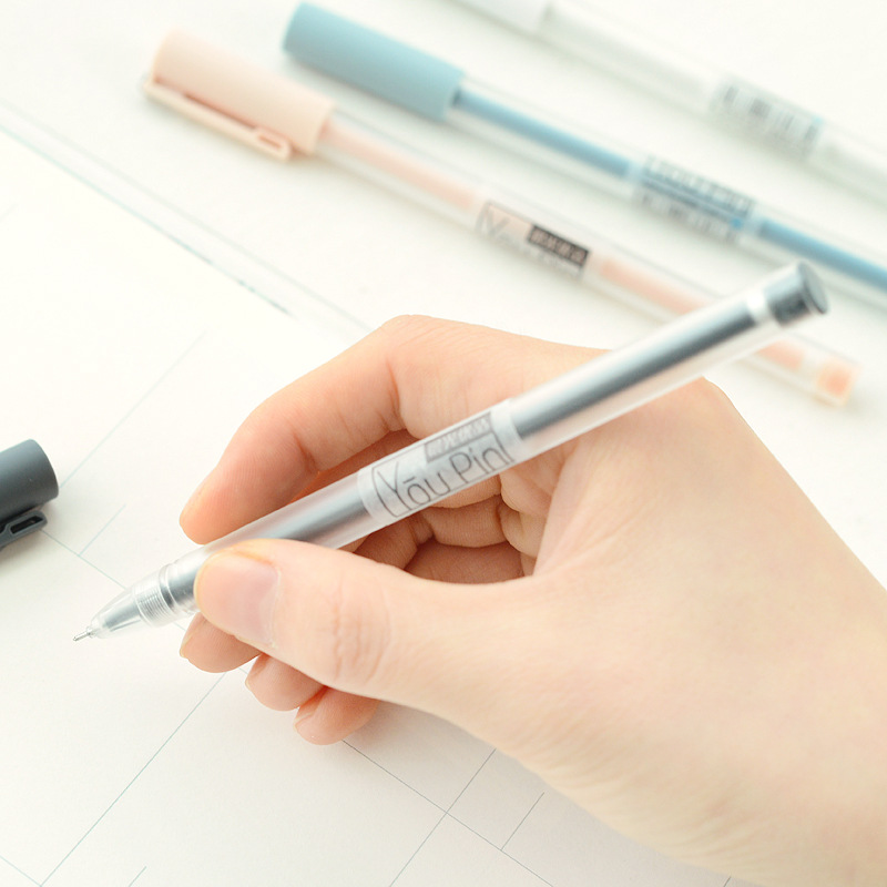 3PCS Simple Pastel Clear Handle Gel Pen School Office Supply Student Stationery Writing Signing Pen Black Ink 0.35mm