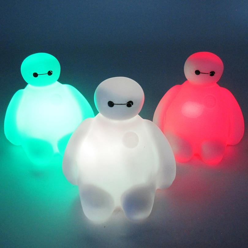 "Kids Baby Children Cartoon Toys cute 7 Color Changing ""Dabai"" big Hero BayMax LED Night Lights Decoration Children's Room"