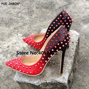 Image 2 - YUE JABON New Shoes Spike Heels Red Patent Leather Stiletto Pumps Shoes Rivets Studs Lady Thin High Heels Shoes Party Dress Shoe