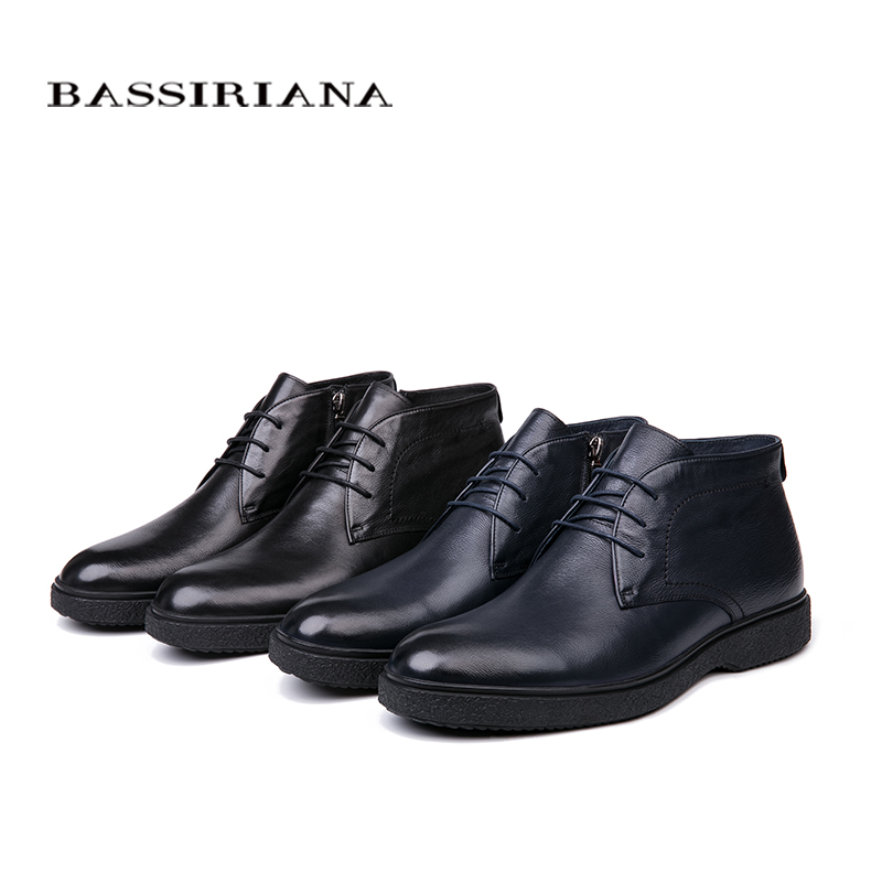 Image 4 - BASSIRIANA brand 2018 quality genuine leather winter shoes men's warm shoes men's round toe Size 39 45 Free Shipping-in Formal Shoes from Shoes