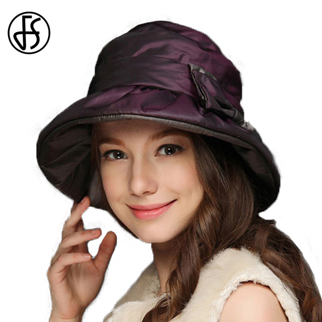 FS 2017 Wide Brim Winter Warm Hat For Woman Elegant Bow Lady Vintage Church  Cappello Chapeu Fedora Thicken Hats 9d54c3038a0
