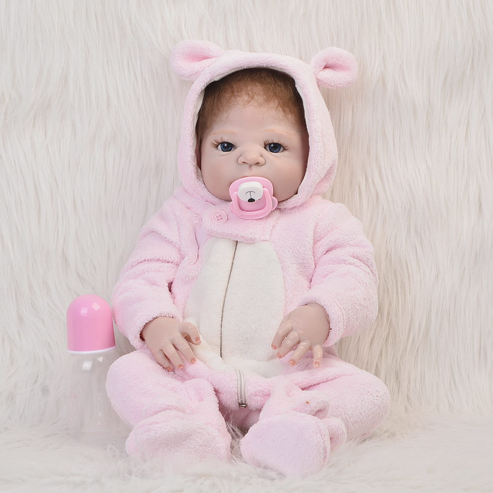 NPK 23'' Reborn Baby Doll Toys For Girl Realistic Baby Dolls Full Silicone Vinyl Body Lifelike Alive bebe Boneca Reborn kid Gift simulation baby girl dolls with short yellow hair newborn realistic alive silicone 60cm height gift for kid house education doll