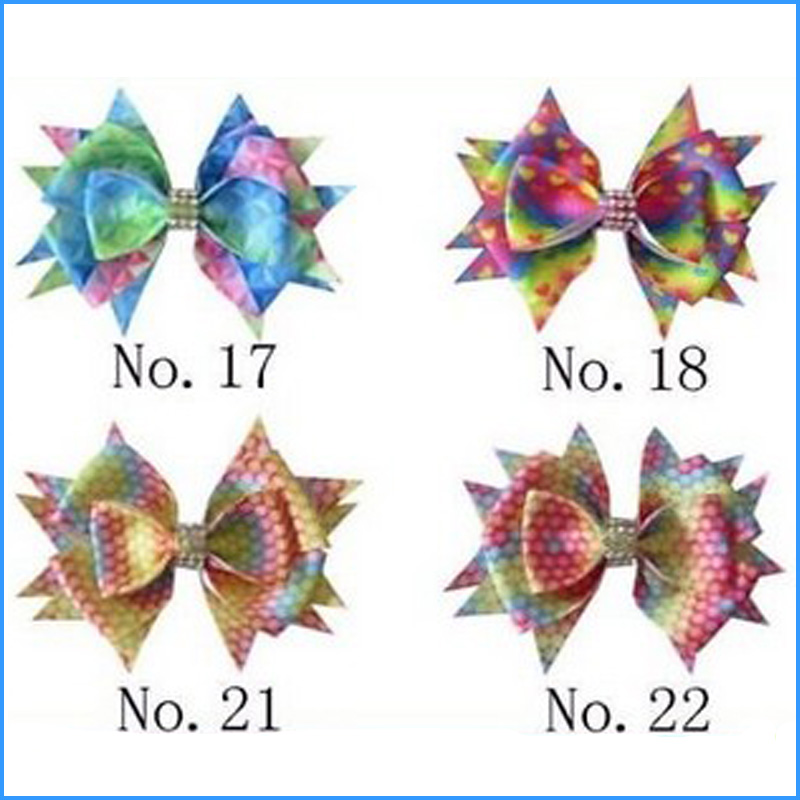 """100 BLESSING Girl 4.5/"""" Two Tone Wendy Hair Bow Clip Rainbow Unicorn Pony Hairbow"""