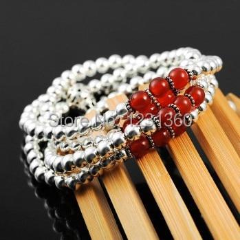 Pure Handmade Agate 100% 925 Sterling Silver Bracelet&Necklace Fashion Elegant Beads Bracelet Fine Jewelry For Birthday Gift все цены