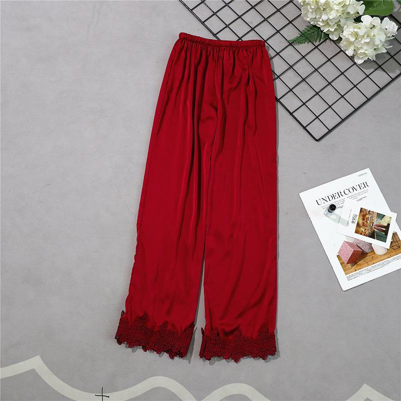 Бургундия стиль женские длинные брюки весна лето повседневная шелковистая Домашняя одежда сна Пижама банные брюки M-XL - Цвет: Dark Red