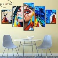 Okhotcn холст стены Книги по искусству HD печатает Картины 5 шт. Индианс американский родной девушка плакат Гостиная Домашний Декор фотографий о...