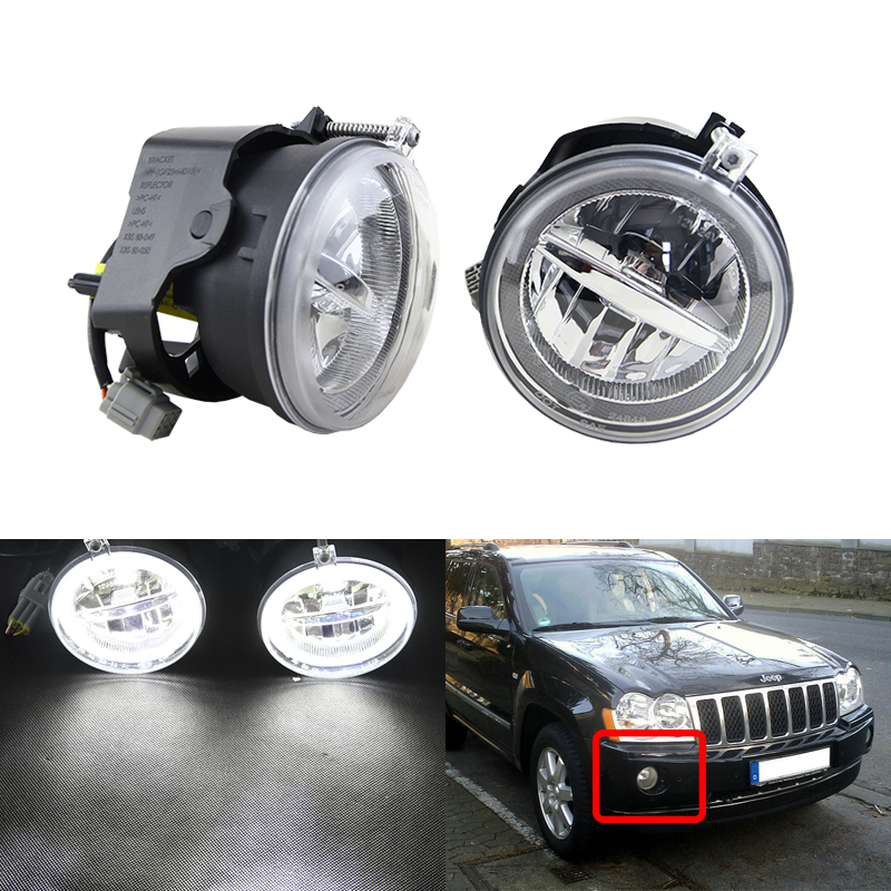 2 in 1 Multi function Front Led Fog Light W Xenon White DRL Halo Rings For