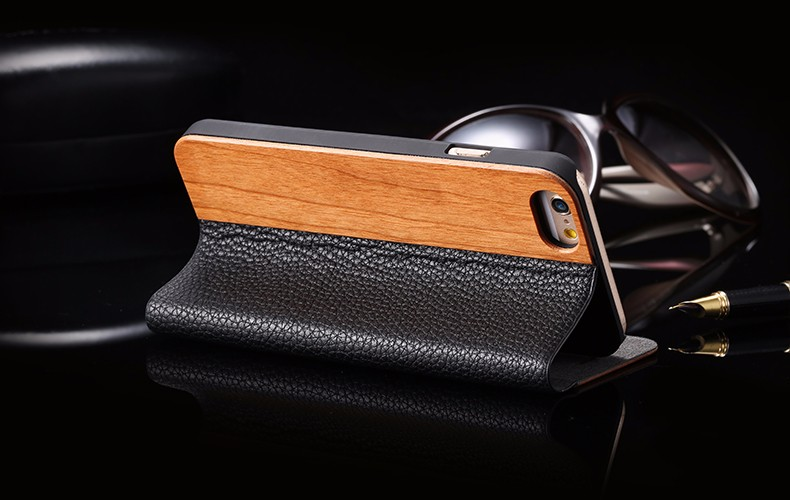 Vintage Genuine Bamboo Wood Flip Leathe Case For iPhone 6 6S Plus Real Rosewood Wooden Wallet Cover For iPhone 7 7 Plus Card Slot (17)