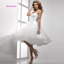 LEIYINXIANG Popular Wedding Dress Vestido De Noiva Robe de Mariee Modern Sexy A-Line Strapless Appliques Backless Petite Size