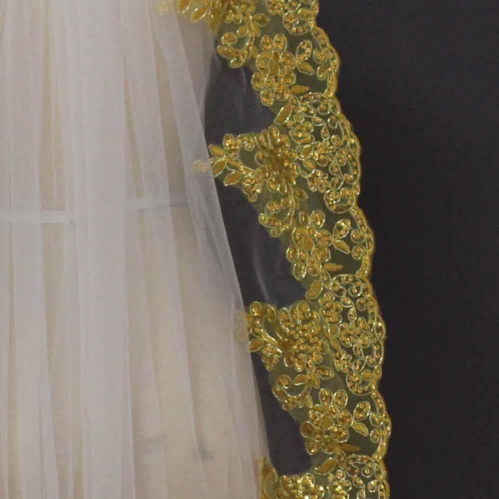 2019 תמונות אמיתיות חדשות קצר זהב תחרה לבן שנהב טול חתונת רעלה בלינג פאייטים תחרה כלה צעיף Accesorios Mujer