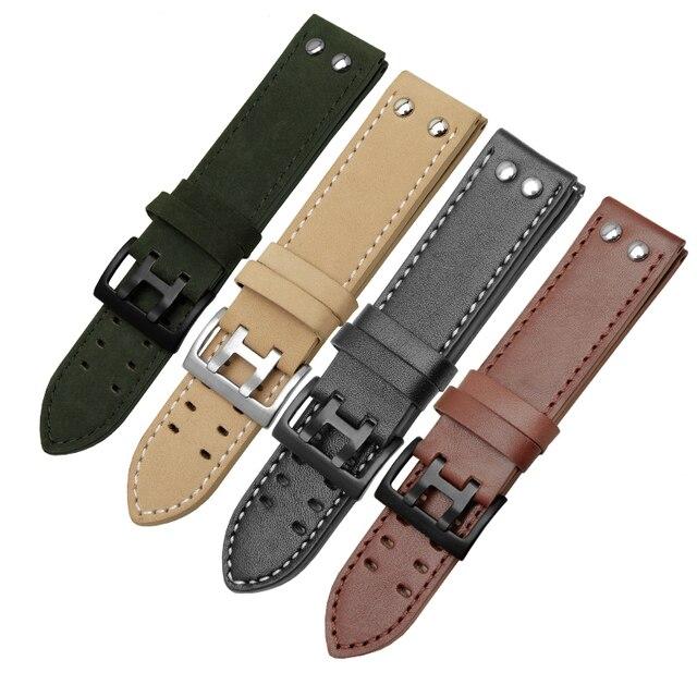 PEIYI עור רצועת להקת רוחב 20mm 22mm זוגי שורה חור עור חגורת שעון שעון אביזרי להחליף עבור המילטון