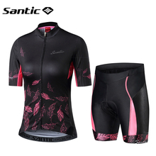 Santic Short Sleeve Cycling Jersey Women Road Bike MTB Wear Breathable Mountain Bicycle