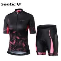 Santic Short Sleeve Cycling Jersey Women Road Bike MTB Short Jersey Cycling Wear Breathable Mountain Bike Bicycle Cycling Wear