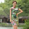 2015 зеленый лотоса белье платье Cheongsams горячая распродажа классический стиль женщины Qipaos новинка короткими рукавами рук кнопку женское платье