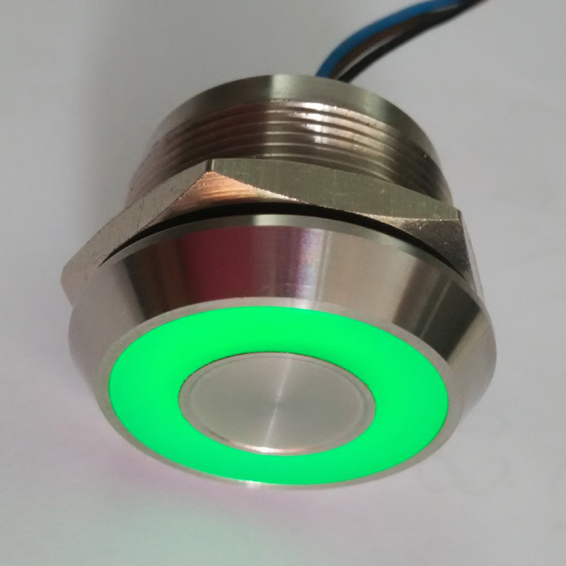 25mm IP68 waterproof Green 5V DC ring illumination SELF LOCKING Latching Fixation touch sensor piezo switch