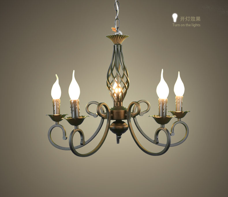 5 Heads Candle Chandelier Iron Black color Retro style Blaze Flame shape bedroom restaurant study parlor Lighting chinese style villa lighting 9 11 heads chandelier restaurant chandelier copper iron bedroom modern retro lamps za81817