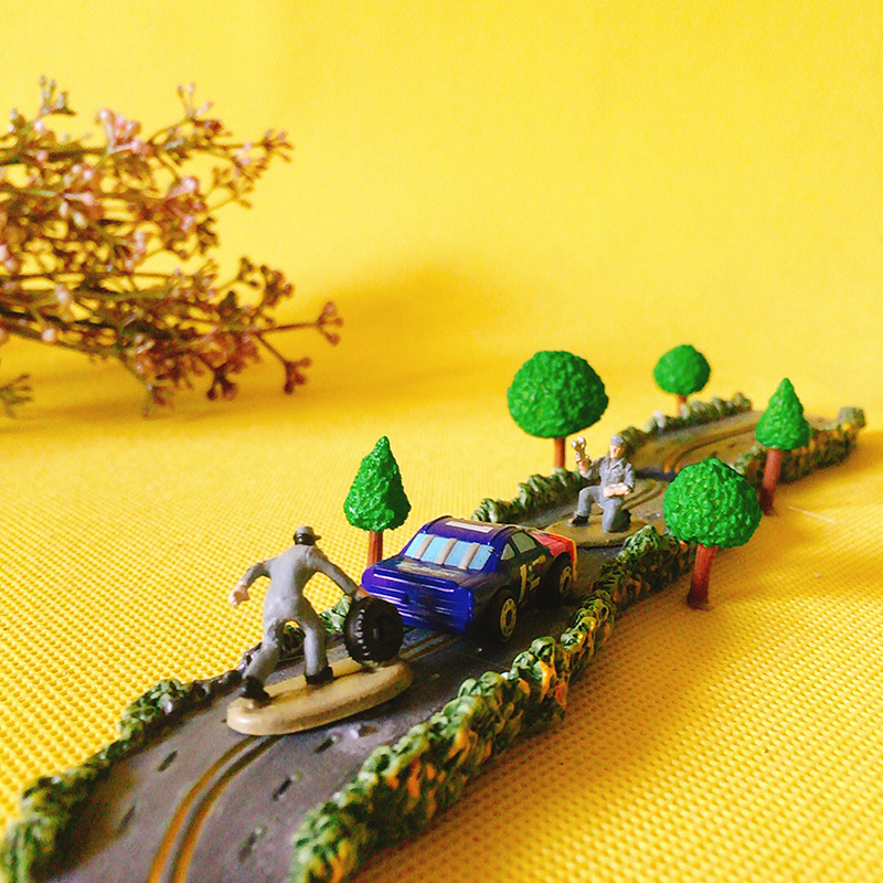 Gnome In Garden: Road/trees/2 Persons Plus 1 Racing Car/doll House