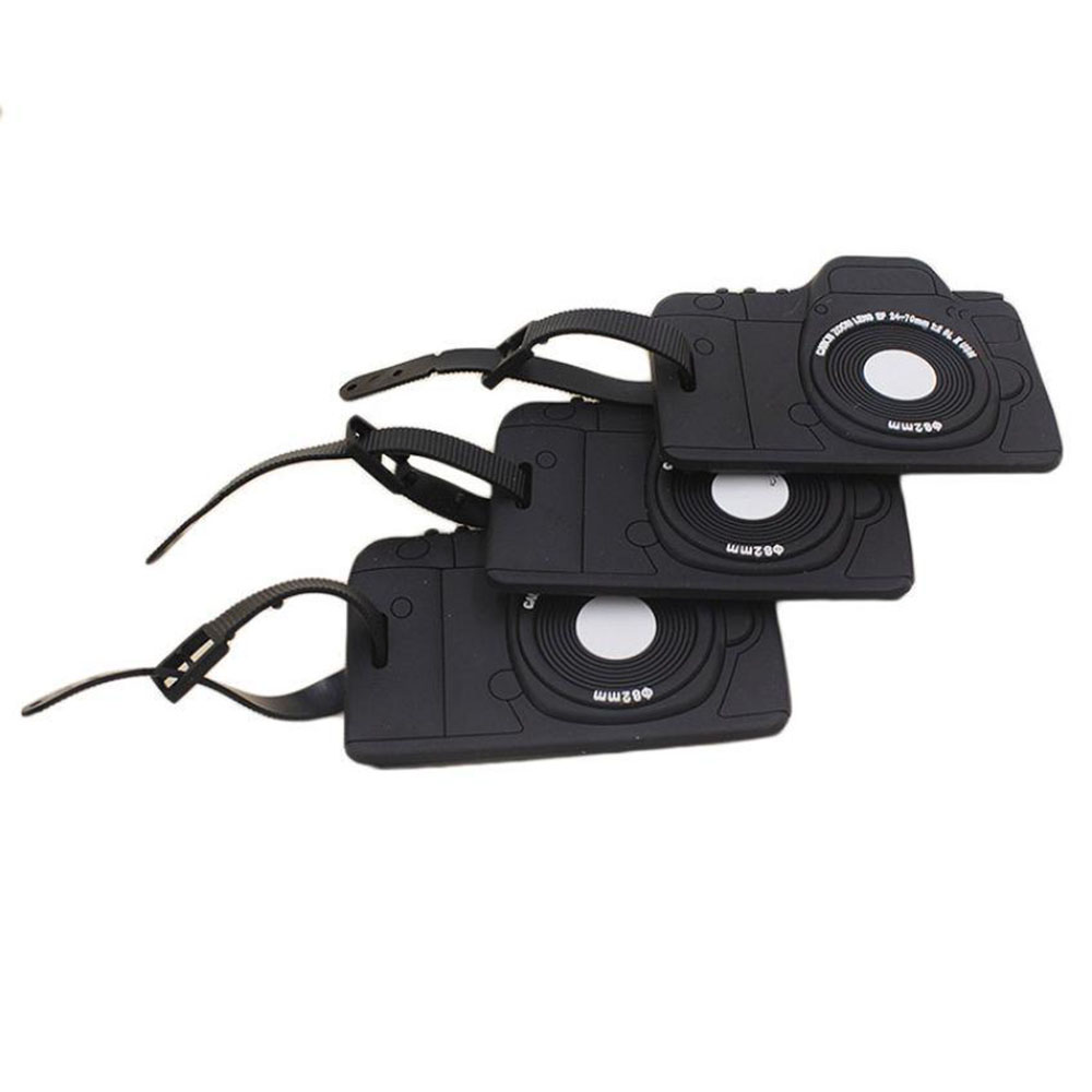 Luggage Tags Portable Secure Travel Kit Suitcase Id Black Camera Handbag Tote Bag ...