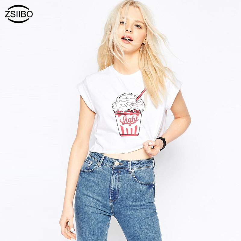 ZSIIBO 2017 Summer Kawaii Ice Cream Print Crop Tops Harajuku Women Loose T-Shirt Beach Style Femme Cropped Tops KaDd10