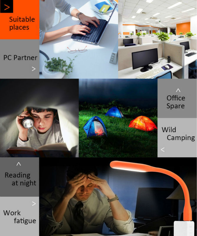 Original Flexible USB LED Night light Book lamp For Laptops Notebook Mobile Power Charger Camping Book Reading Nightlight