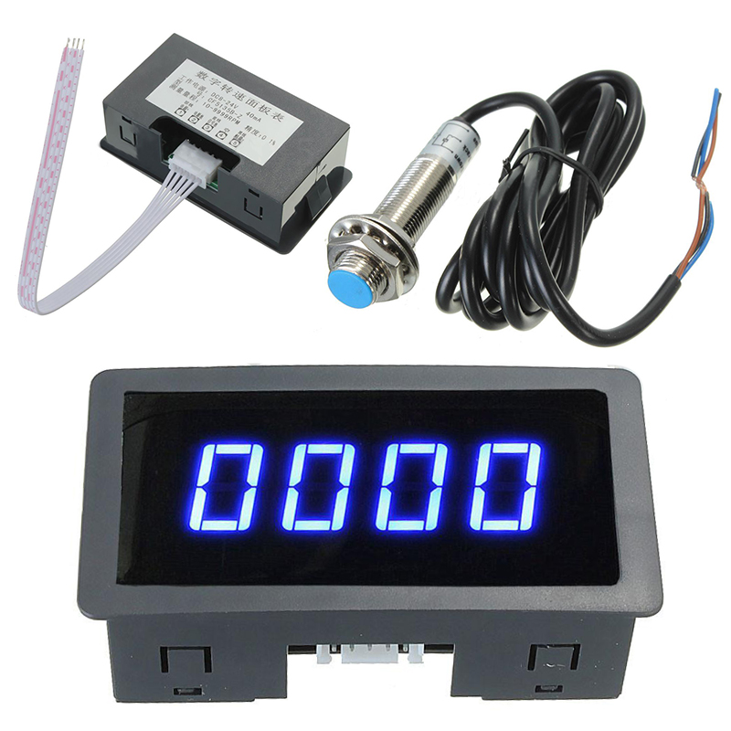 Blue 4 Digital LED Tachometer RPM Speed Meter 5-9999RPM Speedometer + Pusle Signal NPN Hall Proximity Switch Sensor 3 Wires hot sale 4 digital green led tachometer rpm speed meter proximity switch sensor 12v