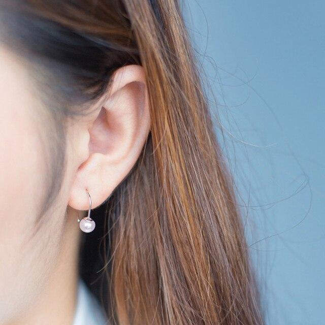Qiming Women Wedding Pearl Earrings 925 Sterling Silver 6mm Freshwater Dangle Ear Jacket Hoop