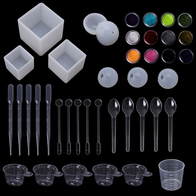 1 Set Silicone Mold Jewelry Epoxy Mould Tool Set For DIY Crafts Measuring Cup Glitter Decoration Handmade Making Accessories1 Set Silicone Mold Jewelry Epoxy Mould Tool Set For DIY Crafts Measuring Cup Glitter Decoration Handmade Making Accessories