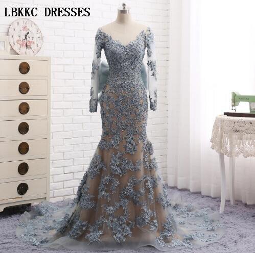 Mermaid Evening Dress Grey Lace Backless Vestido De Festa Longo Para Casamento Floor Length Abiye Gece Elbisesi