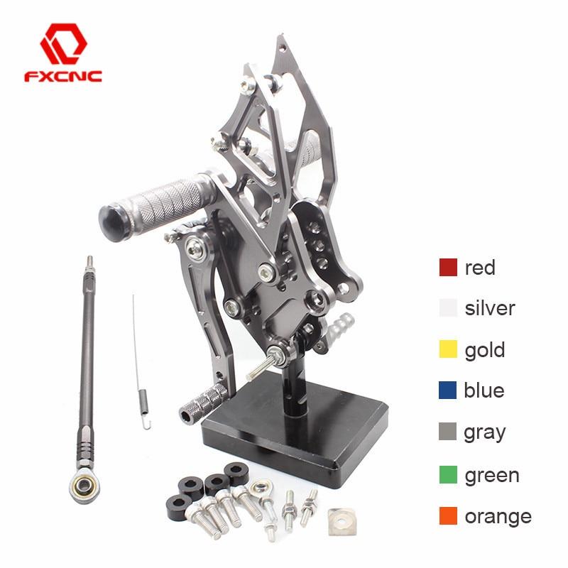 CNC Aluminum Adjustable Motorcycles Rearsets Rear Sets Foot Pegs Pedal Footrest Rear Set For KAWASAKI Ninja 300 250 2013 - 2016