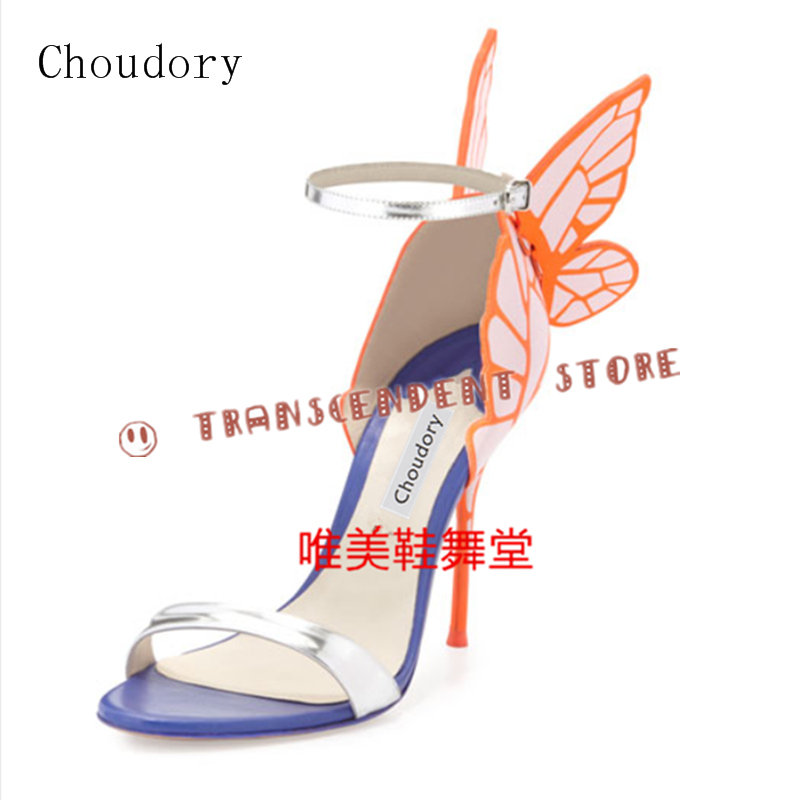 Choudory Mixed Color High Heel Buckle Women Sandals Butterfly Decorated Sandals Summer Fashion Genuine Leather Women Party Shoes
