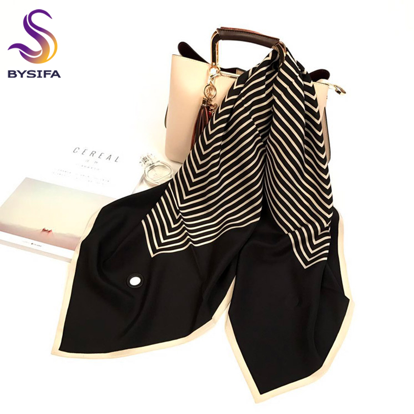 [BYSIFA] Brand Striped 100%Pure Silk Scarf Shawl Fashion Women Perforated Scarves 90cm Fall Winter Black,White Square Neck Scarf