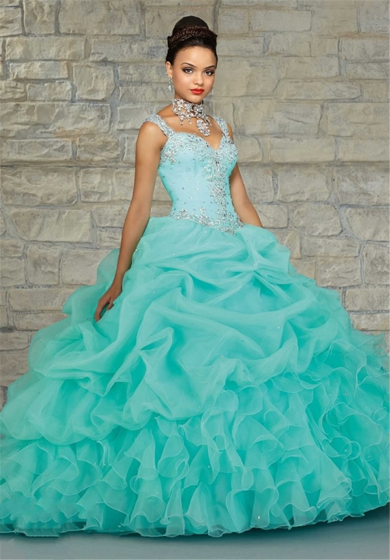 fcf91042147 2016 New Quinceanera Dresses Spaghetti Straps Beaded Quinceanera 15 ...