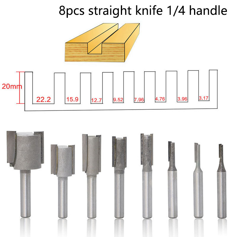 8Pcs Woodworking Cutter Set 6.35mm Shank Straight Woodworking Router Bit Set Carpenter Milling Cutter 3.17-22.2mm Cutting