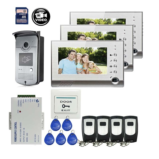 "FREE SHIPPING 7"" 700TVL Door Monitor Video Intercom Home Door Phone Recorder System 3 Screens + Waterproof Rain Cover + 8G SD"