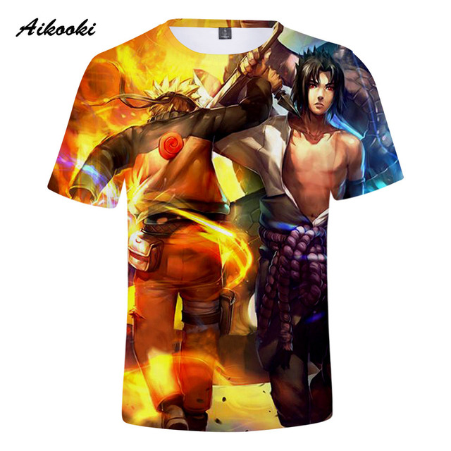 Aikooki New Naruto 3D T Shirts Fashion Men/Women T Shirt Cotton Short Sleeve Shirt Top Tees Boys/Girls T-shirt Golden Naruto 2