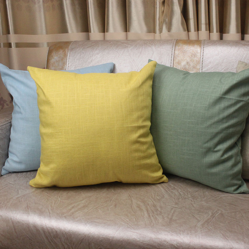 Fashion Simple Solid Cushion Cover Natural Healthy Cotton Linen Home Decorative Throw Pi ...