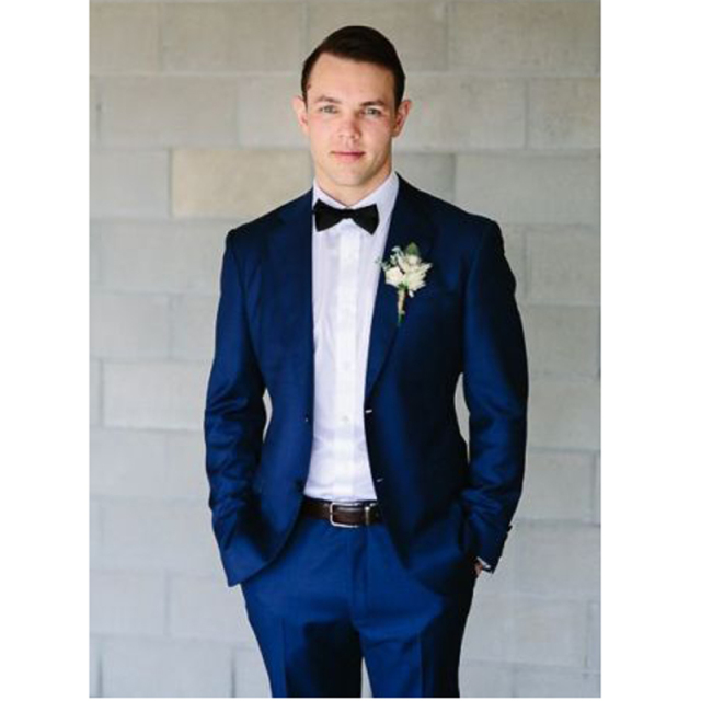 Folobe Terno Masculino Custom Made Fashion Blue Men S Slim Fit Suit Wedding Groom Suits Bridal