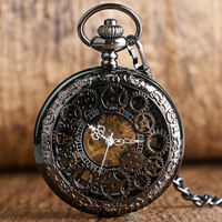 PA010 Village Black Skeleton Hollow Mechanical Pocket Watch Watches Hand Winding For Men Or Women