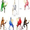 Современная 7 цветов Лампа в форме обезьяны простая веревка LED подвесные светильники Освещение искусство скандинавские реплики Смола Seletti п...