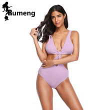 RUMENG 2019 Sexy Purple Swimsuit Women Swimwear One Piece Push Up Bandage Bathing Suit Wear Female Beachwear