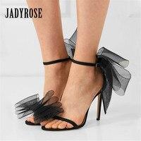 Jady Rose Bowknot Mesh Women Sandals Ankle Strap 10CM High Heels Sexy Women Pumps Prom Dress Shoes Woman Gladiator Sandal