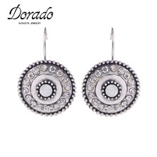 2016 Fashion Classic Silver Alloy Full Crystal Round Shape Resin Drop Earrings Statement Vintage Jewelry Bijoux Cheap Wholesale