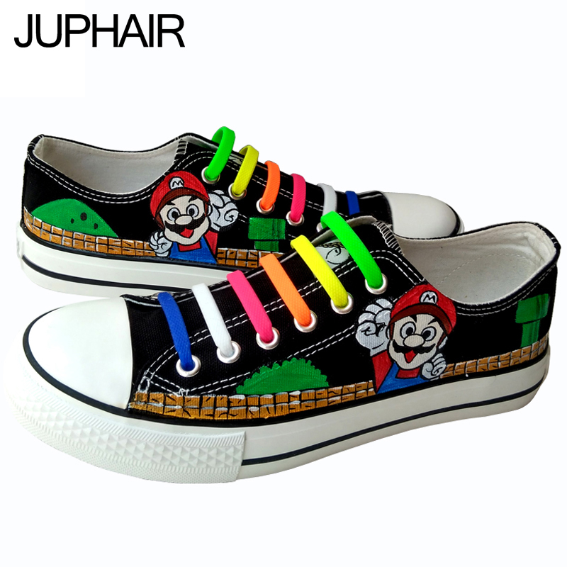 ФОТО JUP Men Female Foot Breathable Super Mario Hand-painted Plate Canvas Shoes Flat Graffiti Cow Muscle Lazy Shoelace Gift Footwear