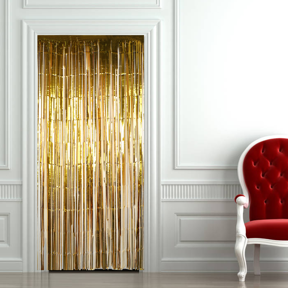 NICEYARD Door Curtain Valance Home Decoration Window Room Divider Flash Line Shiny Tassel String
