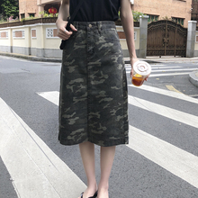 YICIYA Summer 2019 High Waisted Denim Sexy Streetwear Harajuku Skirts Womens Korean Punk Camo Print Jeans Midi Skirt